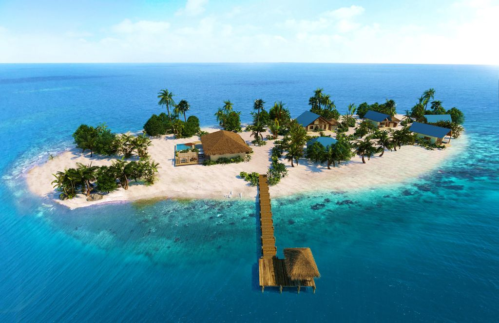 Belize private island resorts, Kanu Island