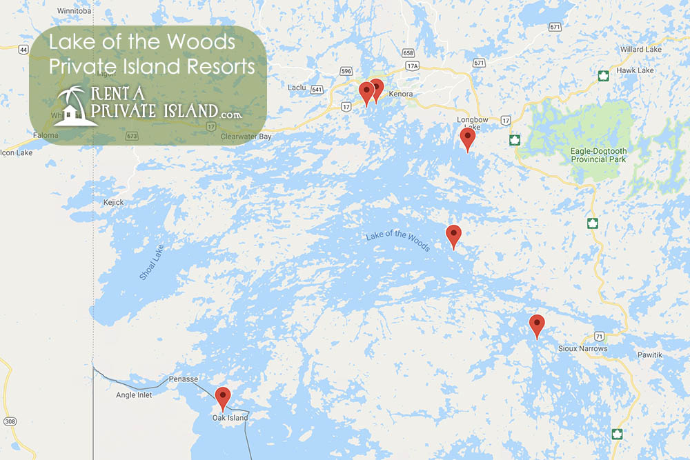 lake of the woods resorts map